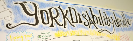 text reads - #yorkdisabilitydoodle in black lettering and blue background