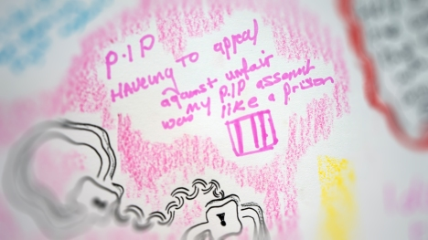 Doodled image of hand cuffs with text 'P.I.P. having to appeal against my unfair PIP assessment was like a prison'.